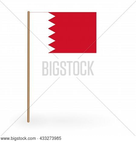 National Red And White Flag Of The Kingdom Of Bahrain. Banner On A Flagpole. Vector Illustration. Ep