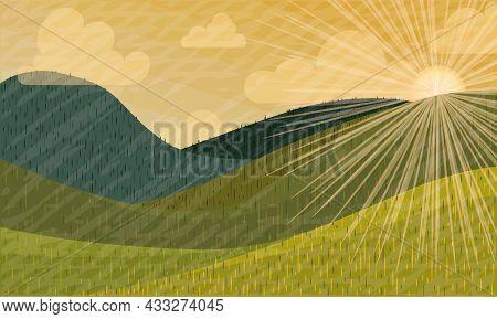 Sunrise In The Mountains Summer Landscape Vector Illustration