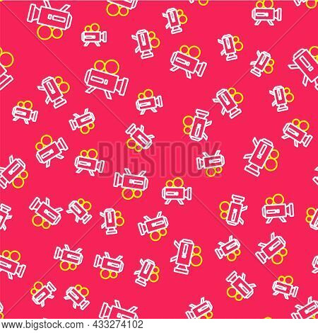 Line Retro Cinema Camera Icon Isolated Seamless Pattern On Red Background. Video Camera. Movie Sign.