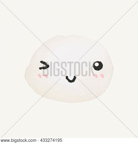 Cute watercolor emoticon with winking face in doodle style