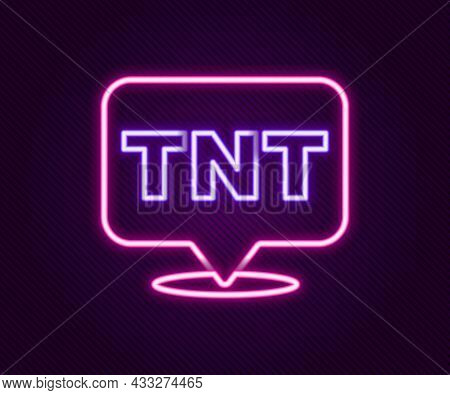 Glowing Neon Line Detonate Dynamite Bomb Stick Icon Isolated On Black Background. Time Bomb - Explos