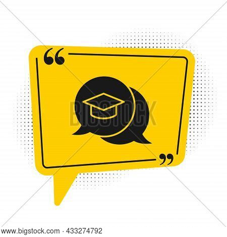 Black Graduation Cap In Speech Bubble Icon Isolated On White Background. Graduation Hat With Tassel