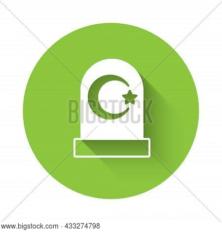 White Muslim Cemetery Icon Isolated With Long Shadow. Islamic Gravestone. Green Circle Button. Vecto