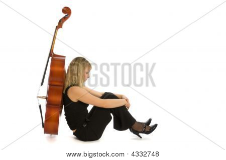 Sadness Woman Musician With Cello