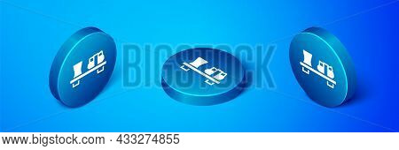 Isometric Sushi On Cutting Board Icon Isolated On Blue Background. Asian Food Sushi On Wooden Board.