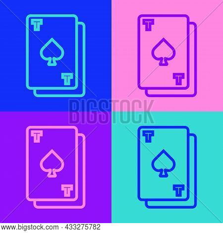 Pop Art Line Playing Card With Spades Symbol Icon Isolated On Color Background. Casino Gambling. Vec