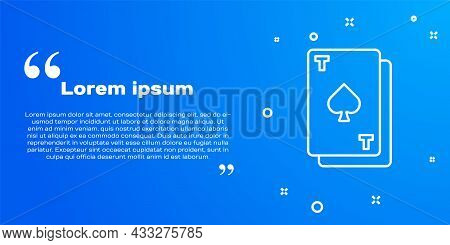 White Line Playing Card With Spades Symbol Icon Isolated On Blue Background. Casino Gambling. Vector