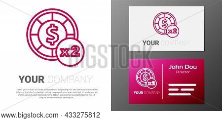 Logotype Line Casino Chips Icon Isolated On White Background. Casino Gambling. Logo Design Template