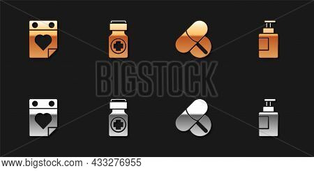 Set Doctor Appointment, Medicine Bottle And Pills, Tablet And Hand Sanitizer Icon. Vector