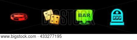 Set Casino Chips, Game Dice, Alcohol Bar Location And Slot Machine With Jackpot Icon. Vector