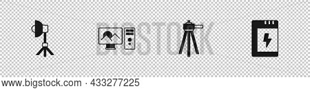 Set Softbox Light, Photo Retouching, Tripod And Battery For Camera Icon. Vector