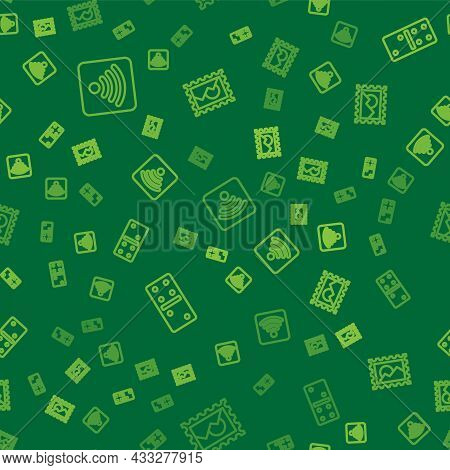Set Line Wi-fi Wireless Internet Network, Domino And Postal Stamp On Seamless Pattern. Vector