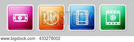 Set Line Online Play Video, Cd Or Dvd Disk, Play Video And . Colorful Square Button. Vector