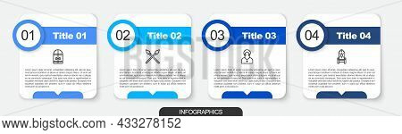 Set Line Medieval Castle Gate, Crossed Medieval Spears, Monk And Throne. Business Infographic Templa
