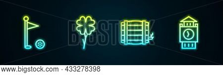 Set Line Golf Flag, Four Leaf Clover, Wooden Barrel And Big Ben Tower. Glowing Neon Icon. Vector