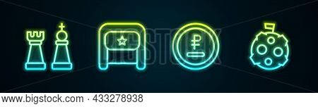 Set Line Chess, Ushanka, Rouble, Ruble Currency And Moon With Flag. Glowing Neon Icon. Vector