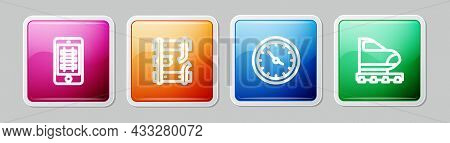 Set Line Buy Train Ticket Online, Broken Rails Railway, Train Station Clock And High-speed. Colorful