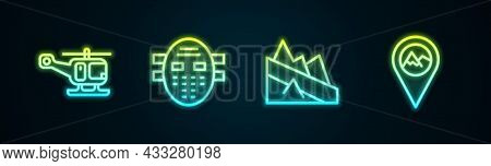 Set Line Rescue Helicopter, Hockey Mask, Mountain Descent And Location With Mountain. Glowing Neon I