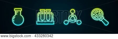 Set Line Test Tube And Flask, , Molecule And Microorganisms Under Magnifier. Glowing Neon Icon. Vect