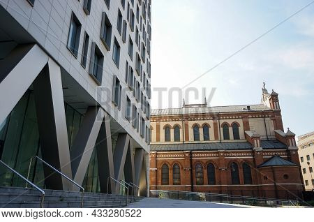 Bucharest, Romania - September 13, 2021: Cathedral Plaza Bucharest Building Finished In 2011 Is Stil