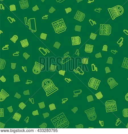 Set Line Security Camera, Slot Machine With Jackpot And On Seamless Pattern. Vector