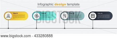 Set Line Bathroom Scales, Micrometer, Circle Of Pieces And Diameter. Business Infographic Template.