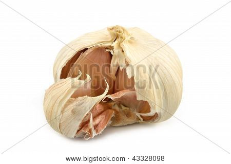 Head Of Garlic On A White Background