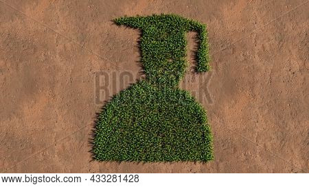 Concept or conceptual green summer lawn grass symbol shape on brown soil or earth background,  sign of graduate cap. A 3d illustration metaphor for academic achievement, success, a future carrer