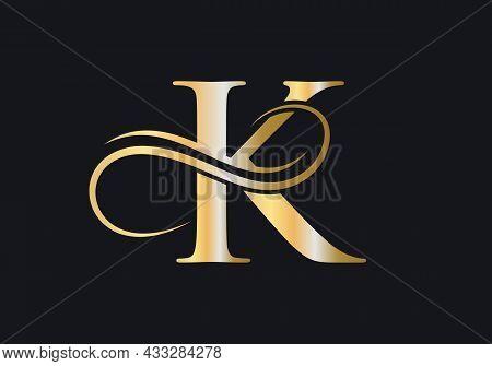 K Letter Initial Luxurious Logo Template. Premium K Logo Golden Concept. K Letter Logo With Golden L