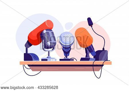 Press Conference With Microphone On Tribune Vector Illustration. Record Human Voice Flat Style. Jour