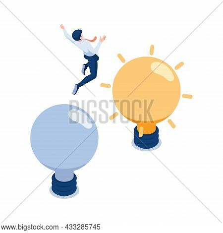 Flat 3d Isometric Businessman Jumping From Old To New Lightbulb. Business Idea Concept.