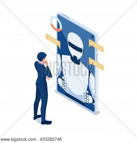 Flat 3d Isometric Businessman Talking With Chat Bot In Smartphone. Chatbot Online Customer Support O