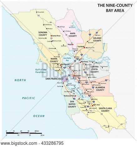 Administrative And Road Map Of The California Region San Francisco Bay Area