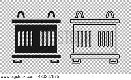 Black Container Icon Isolated On Transparent Background. Crane Lifts A Container With Cargo. Vector