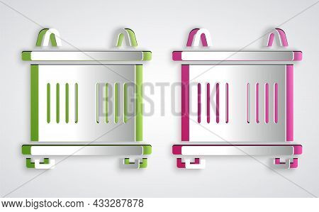 Paper Cut Container Icon Isolated On Grey Background. Crane Lifts A Container With Cargo. Paper Art