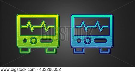 Green And Blue Computer Monitor With Cardiogram Icon Isolated On Black Background. Monitoring Icon.