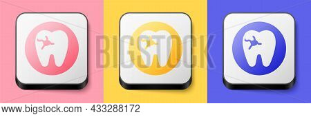 Isometric Tooth With Caries Icon Isolated On Pink, Yellow And Blue Background. Tooth Decay. Square B