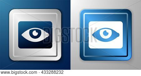 White Red Eye Effect Icon Isolated On Blue And Grey Background. Eye Redness Sign. Inflammatory Disea