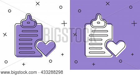 Set Medical Clipboard With Clinical Record Icon Isolated On White And Purple Background. Prescriptio