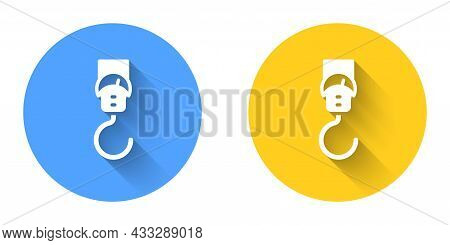 White Spring Scale Icon Isolated With Long Shadow Background. Balance For Weighing. Determination Of