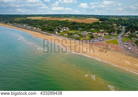 Aerial view of the Omaha beach, memory of the world war II American battle.