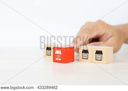 Franchise E-commerce, Hand Choose Cube Wooden Block Stack With Franchise Business E-commerce Store G