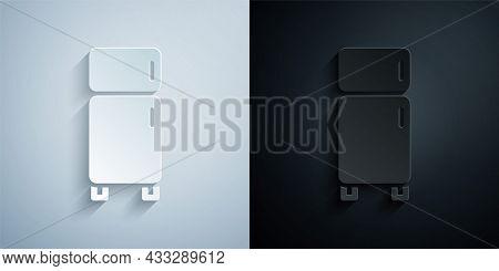Paper Cut Refrigerator Icon Isolated On Grey And Black Background. Fridge Freezer Refrigerator. Hous