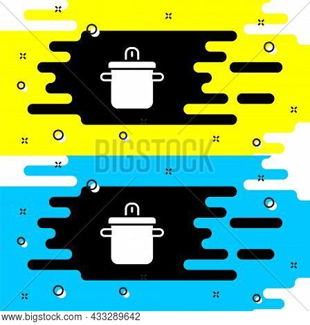 White Cooking Pot Icon Isolated On Black Background. Boil Or Stew Food Symbol. Vector