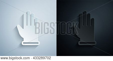 Paper Cut Rubber Gloves Icon Isolated On Grey And Black Background. Latex Hand Protection Sign. Hous