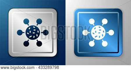 White Bacteria Icon Isolated On Blue And Grey Background. Bacteria And Germs, Microorganism Disease