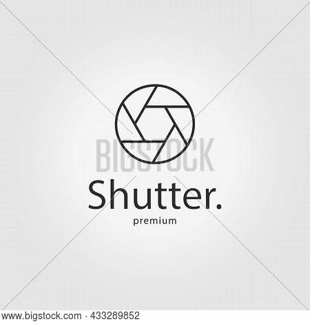 Shutter Camera Logo Line Art Icon Vector Illustration Design