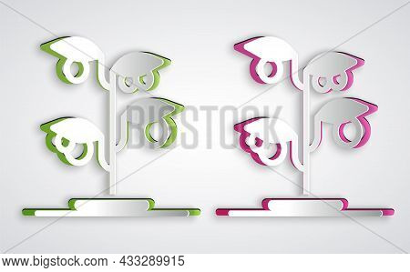 Paper Cut Sprout Icon Isolated On Grey Background. Seed And Seedling. Leaves Sign. Leaf Nature. Pape
