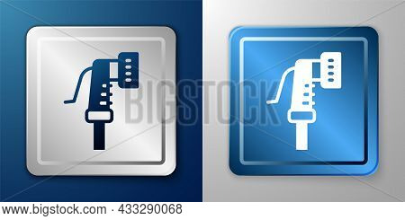 White Garden Hose Icon Isolated On Blue And Grey Background. Spray Gun Icon. Watering Equipment. Sil