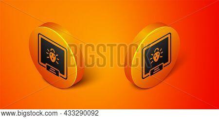 Isometric Colorado Beetle Icon Isolated On Orange Background. Orange Circle Button. Vector
